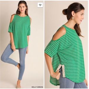 Tops - Cold Shoulder Top Kelly Green with Lace Trim